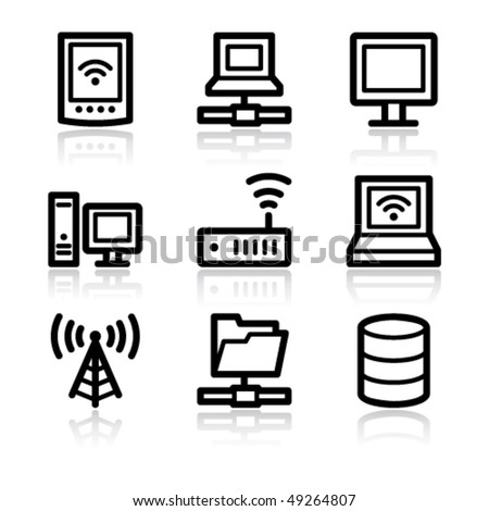 Black contour network web icons V2 - stock vector