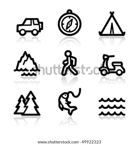 Black contour travel set 3 web icons V2 - stock vector