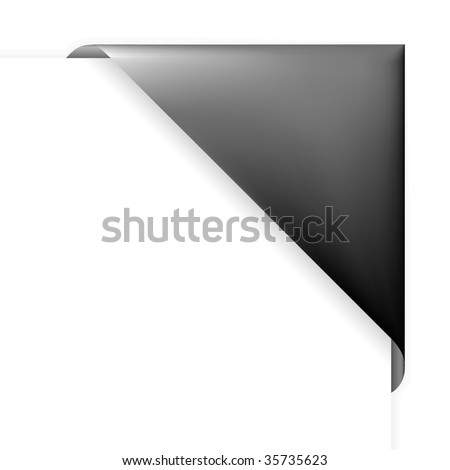Black corner folder for photos, or tag for items in eshop - stock vector