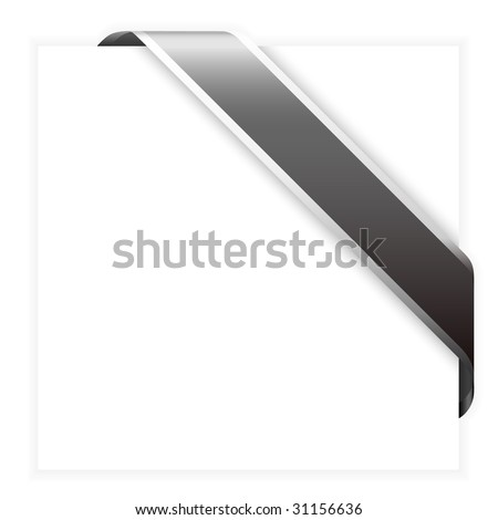 Black corner ribbon - with place for your text (check my portfolio for more) - stock vector