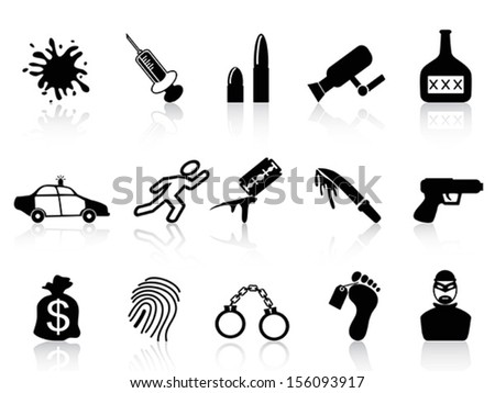 black crime icons set  - stock vector