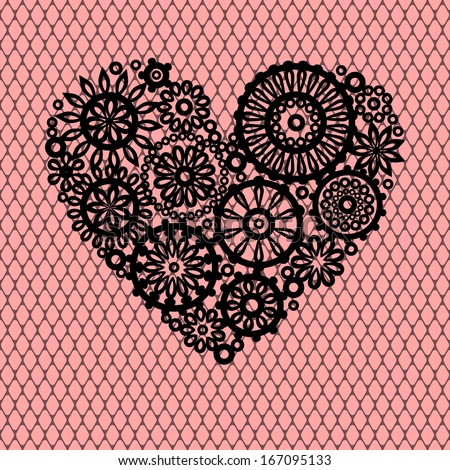 Crocheting Vector : crochet lace flowers heart on pink mesh romantic greeting card, vector ...