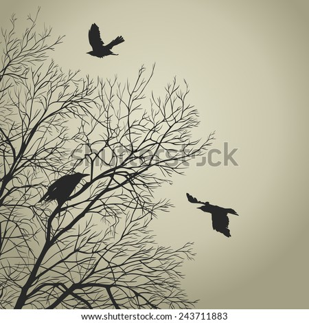 Black crow on a gold sky. All elements can be painted and used separately. - stock vector