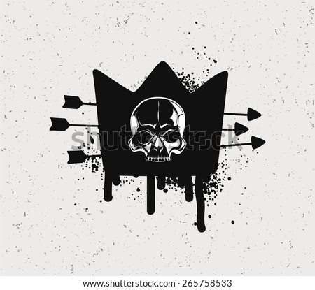 Black crown with the skull.  - stock vector