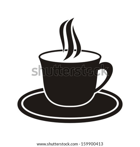 Black cup of hot drink icon on a white background - stock vector
