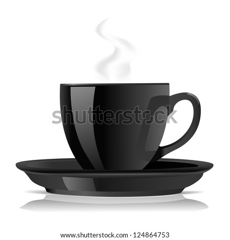 black cup of tea or coffee on white - stock vector