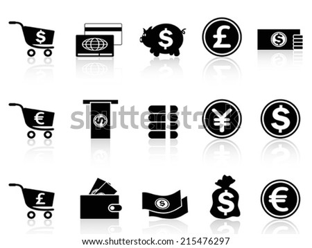 black Currency icons set - stock vector