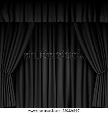 black curtain background - stock vector