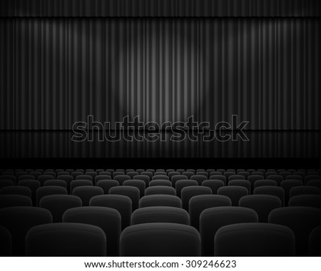 Black curtain from the theatre with a spotlight and row chairs - stock vector