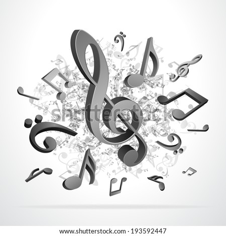 Black 3d music notes vector background eps 10  - stock vector