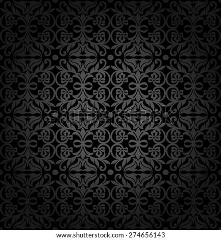 Black damask vintage floral pattern, vector illustration. - stock vector