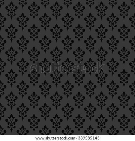 Black damask wallpaper. Background in Victorian style. Elegant vintage ornament in monochrome colors. Vector seamless pattern. - stock vector