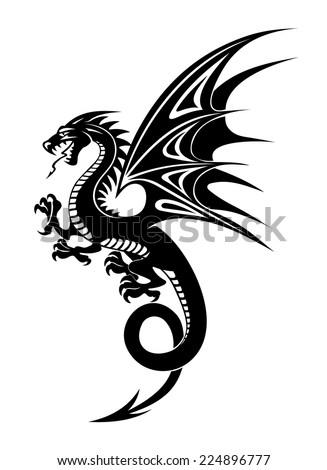 Black danger dragon isolated on white background. Vector illustration - stock vector