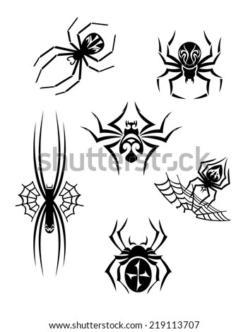 Black danger spiders or arachnids set for tattoo or another design - stock vector