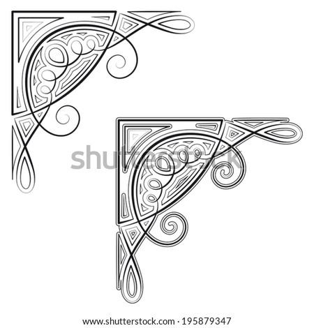 Black decorative corner two arrangements - stock vector