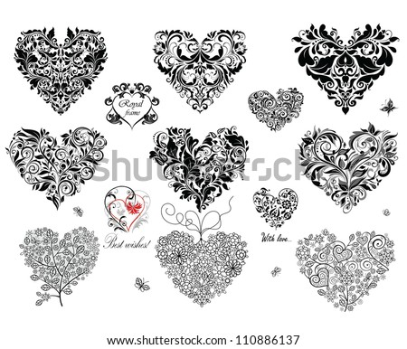Black decorative hearts - stock vector