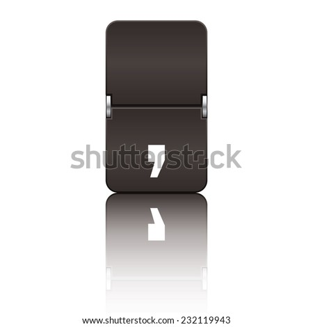 Black departure board letter comma from a series of flipboard letters. - stock vector