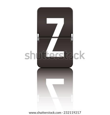 Black departure board letter z from a series of flipboard letters. - stock vector