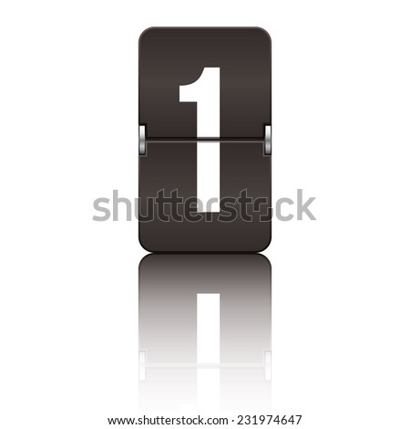 Black departure board number 1 from a series of flipboard numbers. - stock vector