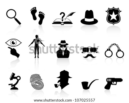 black detective icons set - stock vector