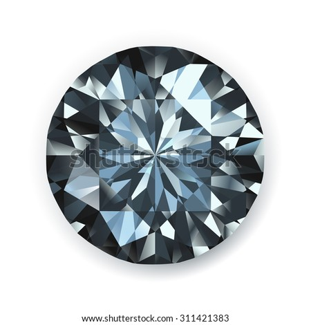 Black diamond realistic illustration - stock vector