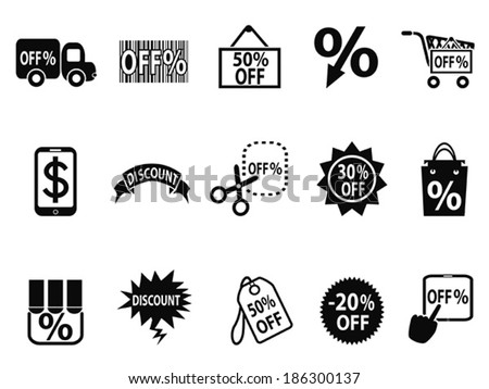 black discount icons set - stock vector