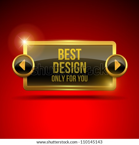 Black display screen with golden frame and arrows on red silk background - stock vector