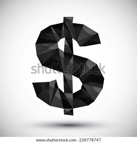 Black dollar sign geometric icon made in 3d modern style, best for use as symbol or design element. - stock vector
