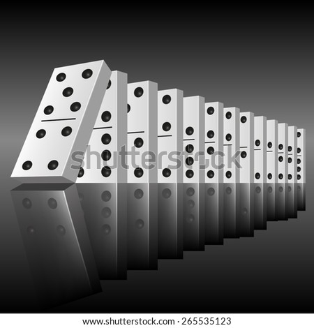 Black dominoes in a row ready to begin to falling. Vector illustration - stock vector