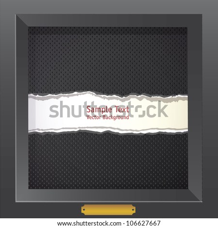 Black dots background in dark frame with hole - Vector illustration - stock vector