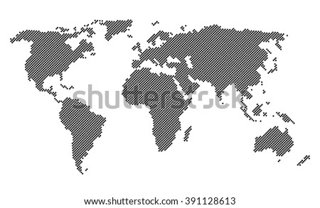 Black dotted world map isolated on white background - stock vector