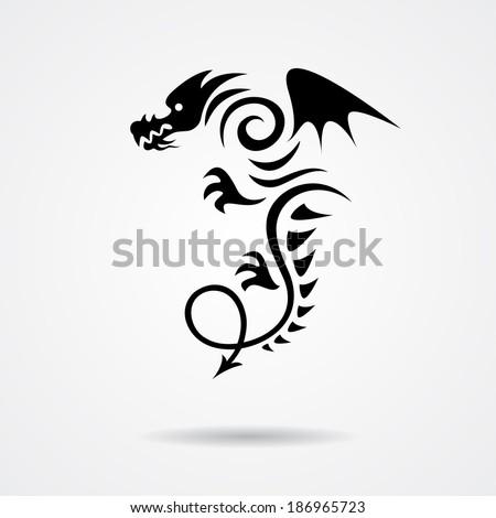 Black dragon illustration isolated on white background - stock vector