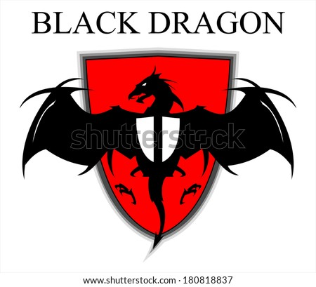 Black Dragon Over the Red Shield - stock vector