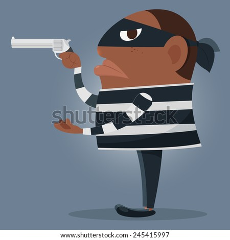 Black dressed man with gun - stock vector