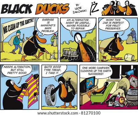 Black Ducks Comic Story episode 72 - stock vector