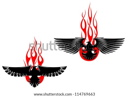 Black eagles with tribal flames for tattoo design, such a logo template. Jpeg version also available in gallery - stock vector