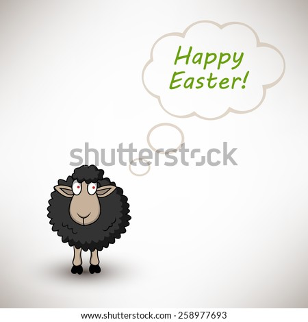 Black easter sheep on white background with text cloud - stock vector
