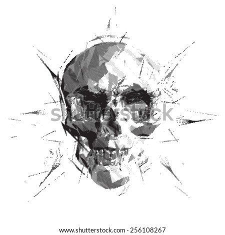 Black facet skull  lithography style - stock vector