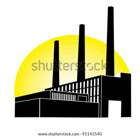 Black Factory with yellow round - stock vector