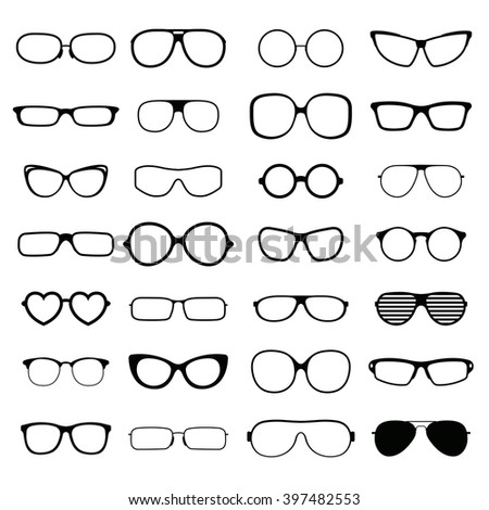 Black fashion glasses silhouette and optical sunglasses black glasses silhouette. Glasses lens accessory frame collection. Collection various styles of fashion glasses solid black silhouette vector. - stock vector