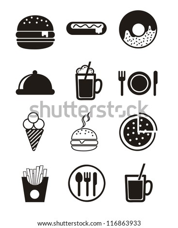 black fast food icons over white background. vector - stock vector