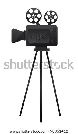 black film cinema camera over white background. vector - stock vector