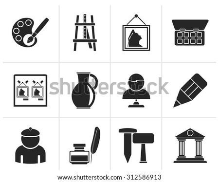 Black Fine art objects icons - vector icon set - stock vector
