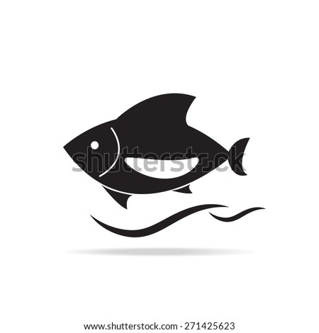 black fish icon on white background, vector EPS 10. - stock vector