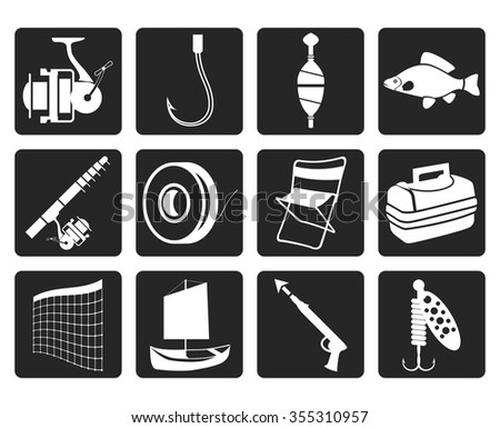 Black Fishing and holiday icons - vector icon set - stock vector