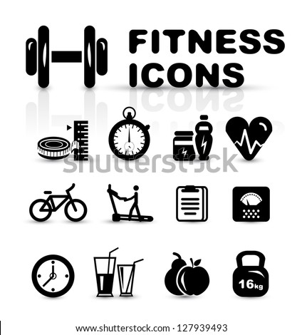 Black fitness icon set isolated on white - stock vector