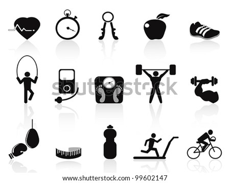 black fitness icons set - stock vector
