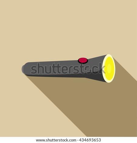 Black flashlight icon in flat style - stock vector