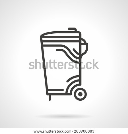 Black flat line vector icon for outdoors garbage bin a side view on white background. - stock vector