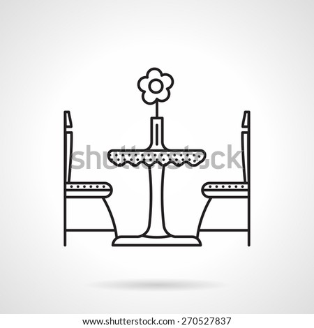 Black flat line vector icon for table with flower in vase and two chair for cafe or restaurant interior on white background. - stock vector